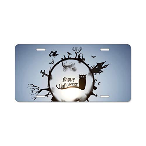 BIKKI Happy Halloween Wallpaper License Plate Novelty Auto Car Tag Vanity Gift for -