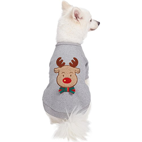 Blueberry Pet 2019 New Soft & Comfy Ultimate All-Weather Christmas Reindeer French Terry Pullover Crewneck Dog Sweatshirt Jacket, Back Length 14, Pack of 1 Holiday Clothes for Dogs