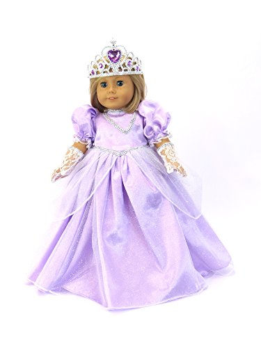 American Fashion World Lavender Princess Gown with Matching Crown for 18-Inch Doll (Toy Fancy Dress Ideas)