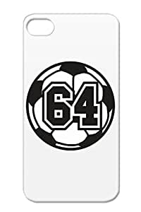 64 Soccer Raster 2 Color TAS TPU Durable Raster Sports Soccer Sports Number Ball Football White For Iphone 4s Cover Case