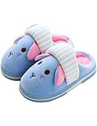 Boys Girls Cute House Slippers,Kids Soft Fur Lined Warm Home Slippers Non Slip Indoor Winter Shoes