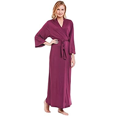 Del Rossa Women's Modal Knit Robe, Full Length Loungewear, XL Deep Purple (A0400DPUXL)