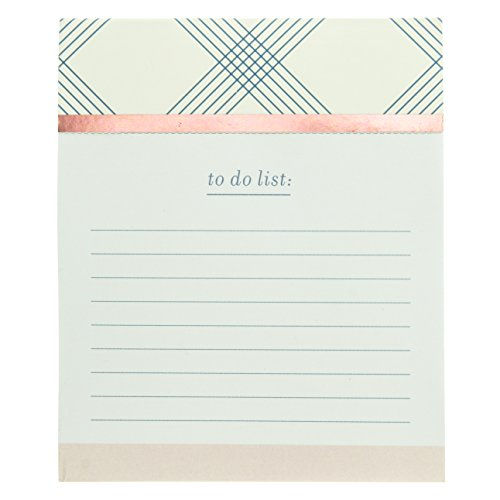 Graphique Blue Plaid Jotter Notepad, Pad of Paper w/ 250 TearableTo-Do Ruled Pages, Embellished with Rose Gold Foil, Great for Kitchen Counters, Nightstands, Desks, and More, 4.5 x 5.5 x 1