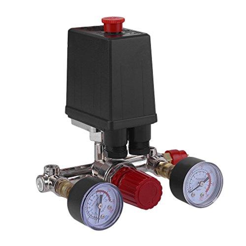 Pressure Switch Manifold Regulator Gauges Air Compressor Parts Control Valve 90-120PSI Horizontal Switch (Electric Switch Pressure)