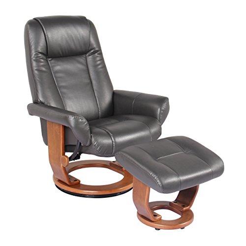 (New Ridge Home swivel recliner chair & ottoman in charcoal, Havana)
