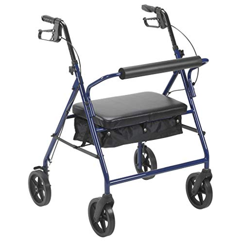 Drive Medical 10216BL-1 Bariatric Rollator with Wheels, Blue, 8 Inch