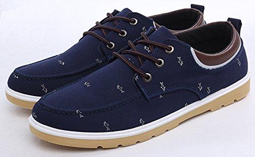 Idifu Heren Casual Lace-up Laag Uitgesneden Skateboard Canvas Schoenen Sneakers Donkerblauw