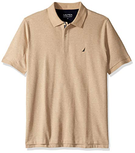 4109d5a1eb67 Nautica Men's Classic Fit Short Sleeve Solid Performance Deck Polo Shirt,  coastal camel heather,