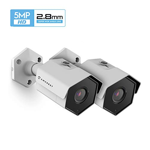 2-Pack Amcrest UltraHD 5MP Outdoor POE Camera, Bullet IP Security Camera, Outdoor IP67 Waterproof, 104° Viewing Angle, MicroSD Recording, 98ft Night Vision, 5-Megapixel, 2PACK-IP5M-1173EW (White)