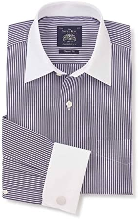 Savile Row Mens Dark Navy White Stripe Cotton Poplin Classic Fit Shirt - Double White Cuff & White Collar 19 1/2