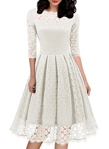 Women's 1950s Vintage Floral Lace Half Sleeve Cocktail Party Casual Swing Dress 595 (M, ()