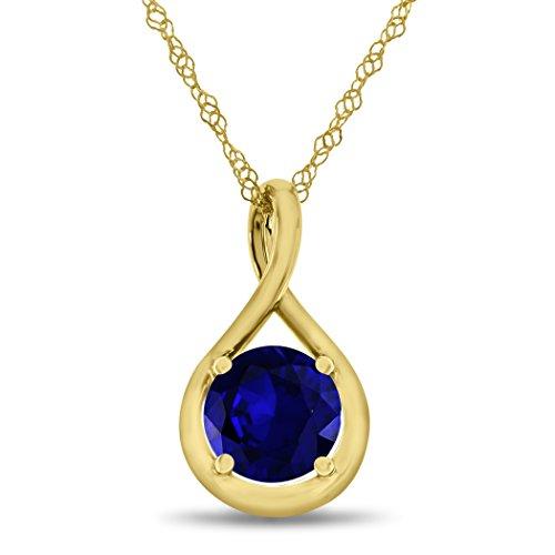 Round Yellow Sapphire Pendant - 1