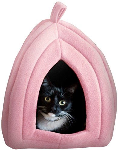 Cat Pet Bed, Igloo- Soft Indoor Enclosed Covered Tent/House for Cats, Kittens, and Small Pets with Removable Cushion Pad by PETMAKER (Pink) ()