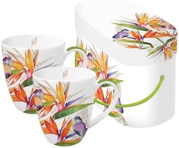 PPD Juego de 2 Tazas de Cafe Desayuno con Caja Regalo Porcelana ...