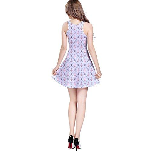 Sleeve Dress Dot Anchors Short with Retro Gray Polka Pattern Skater aPqKwgc0R