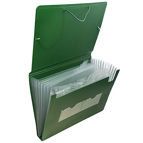 JAM Paper Accordion Folders - Plastic 13 Pocket Expanding File - Letter - 9'' x 13'' - Green - 24/pack by JAM Paper