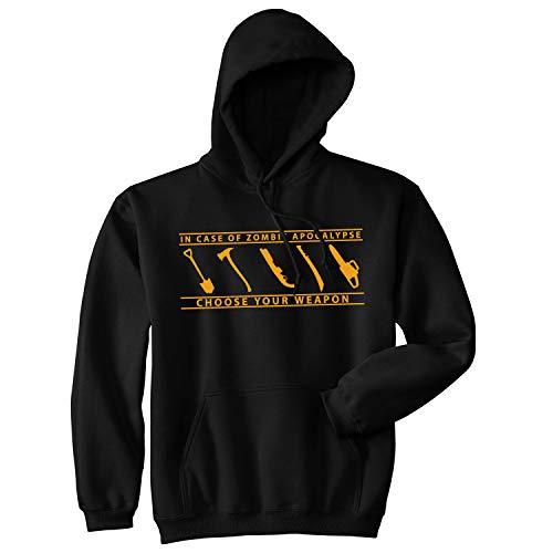 in Case of Zombie Apocalypse Choose Your Weapon Hoodie Funny Undead Sweatshirt (Black) - 3XL -