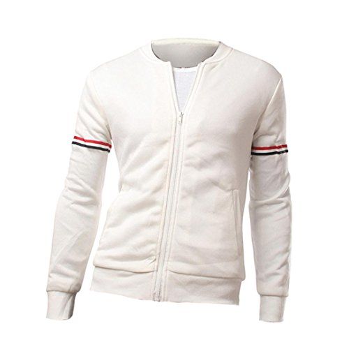 kaifongfu Mens Top, Men Long Sleeve Knit Patchwork Hoodie Sweatshirt Top Jacket Coat Outwear (White,XXL) ()