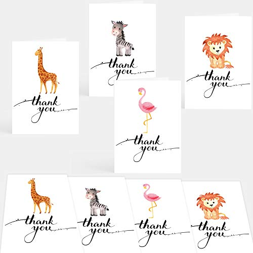 Recycled Eco Friendly 16 Safari Animal Thank You Cards 4 Designs Great...
