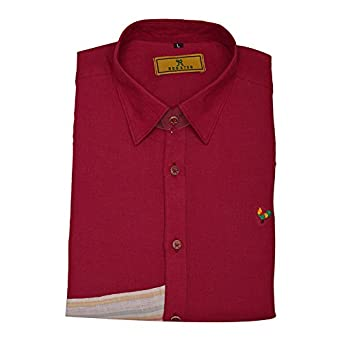 9dede49b9039 Dark Pink Color Pure Linen Designer Shirt (Large-40) - Rooster Den  Amazon. in  Clothing   Accessories