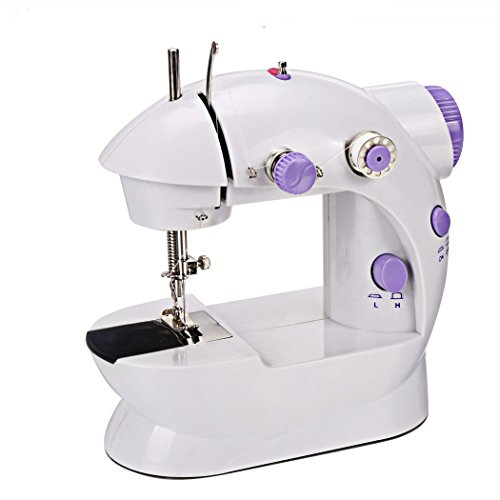 Tomasar Mini Portable Sewing Machine - 2-Speed Mending Machine with 4 Bobbins[US STOCK] (Mini Portable: White+Purple) by Tomasar