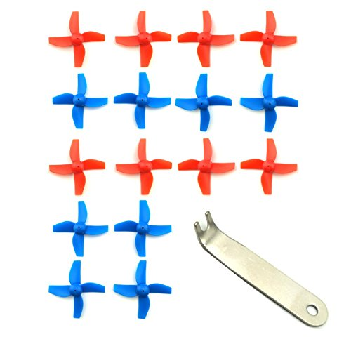 EUDAX 4 Sets 4-blade FPV Propeller Red / Blue CW CCW Props for Tiny Whoop Inductrix H36 E010 RC Micro Quadcopter (Tool Prop)