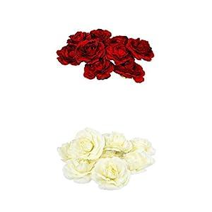 20x Artificial Rose Heads Fake Flower Buds Wedding Home DIY Decor_Beige+Wine Red 58