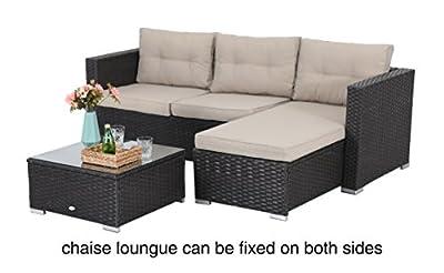 PHI VILLA 3 Piece New Outdoor Furniture Sectional Sofa Patio Set Upgrade Rattan Wicker, Beige