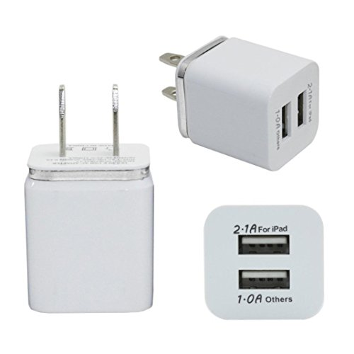 Price comparison product image Mchoice Home Travel Dual Port AC USB Wall Charger (Silver)