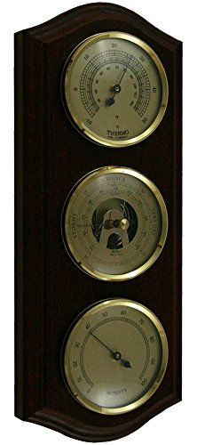 Ambient Weather Fischer 9175-22 Instruments Solid Mahogany and Brass Thermometer/Hygrometer/Barometer Traditional Weather Station