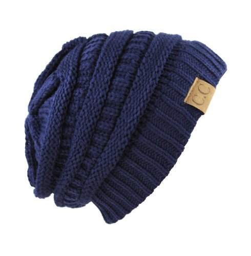 Unisex Trendy Warm Chunky Soft Stretch Cable Knit Slouchy Beanie Skully navy one size fits all (Dv All)
