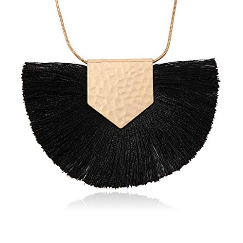 (RIAH FASHION Antique Bohemian Silky Thread Fan Tassel Statement Necklace - Vintage Gold Feather Shape Strand Fringe Lightweight Long Chain (Necklace Half Moon Tassel - Black))