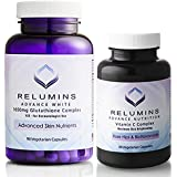 Relumins Advanced White Dermatologic Set - 1650mg Glutathione Complex and Advanced Vitamin C with Rose Hips and…