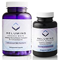 Relumins Advanced White Set - 1650mg Glutathione Complex and Advanced Vitamin C with Rose Hips and Bioflavanoids (2 Bottles Total)