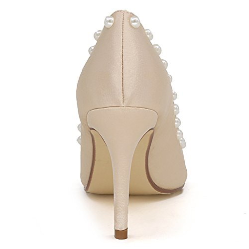 Ivory Scarpe Ladies Forma Sandali di Toe da Sposa A Elobaby Cm Sera Peep con Tacco 9 di Fiori Donna Tacco Sandali da Gattino CFBqxdwp