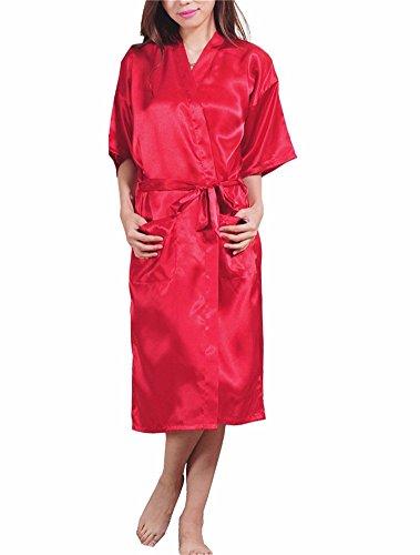 Yall Pijama Batas De Seda Seda Imitación Cardigan Color Sólido Red