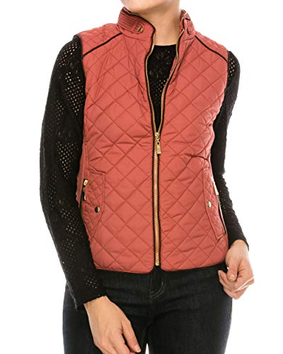 Nolabel Womens Lightweight Quilted Padding Zip Up Vest Jacket Suede Piping with Pocket Dusty Pink L