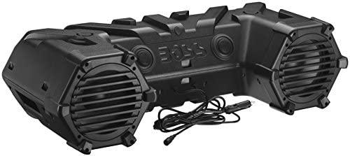 BOSS Audio Methods ATVB95LED UTV ATV Audio system – Weatherproof, ATV Soundbar, 8 Inch Audio system, 1.5 Inch Tweeters, Amplified, Wired Distant for Bluetooth Connectivity, LED Mild Bar, Storage Compartment