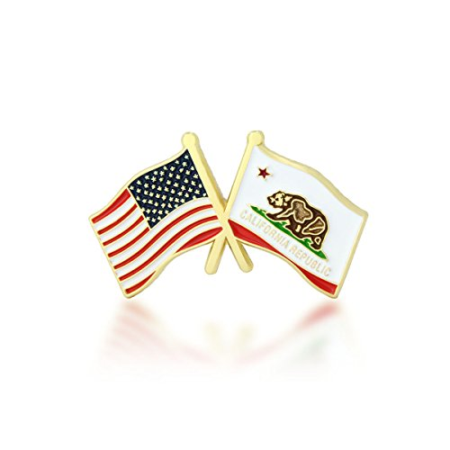 GS-JJ American and California State Crossed Friendship Flag Enamel Lapel Pin (1 Piece)