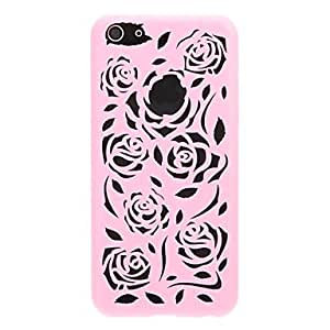 Hollow Out Flowers Pattern Protective Plastic Hard Back Case Cover for iphone 5C , Pink