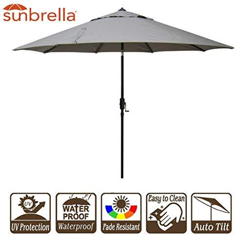 Bayside21 Outdoor Patio Umbrella 9-Feet Aluminum Market Table Umbrella Sunbrella Fabric Patio Umbrella with Auto Tilt and Crank, Sunbrella Taupe (9', Sunbrella - Sunbrella Auto Aluminum Umbrella Tilt