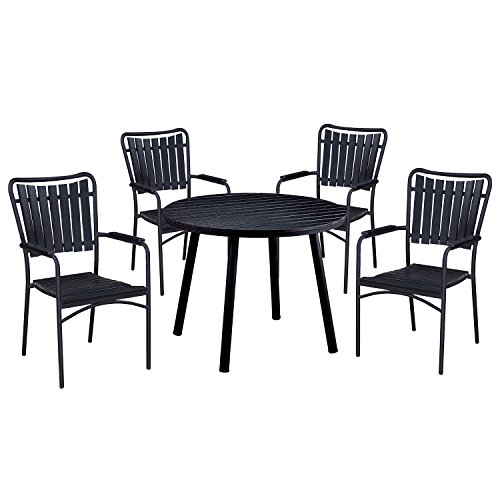 - Oakland Living AZ910-715(4)-BK Modern Outdoor Dining Set, Black