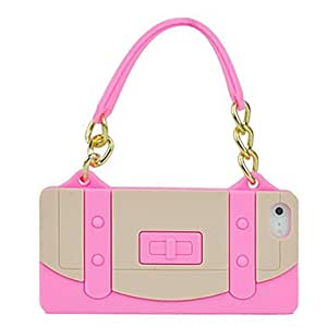 Pink New Silicone Soft Gel Tote Handbag Chain Case Cover for iPhone 5 Hot --- COLOR:Black