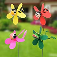 Bee Beetle Garden Wind Spinners Pinwheels Whirlygigs Dragonfly Bee Stakes Decorations Outdoor Lawn Decorative