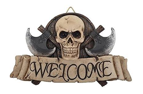 Cartel para puerta pirata Welcome cráneo hacha polyraisin 17 ...