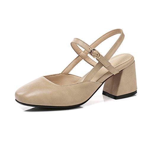 High Chaussures Kaki Tête Retour Peu avec Bouche Sandales d'épaisseur Boucle Heels Profonde à Arrière Femmes de Carrée w6rFw