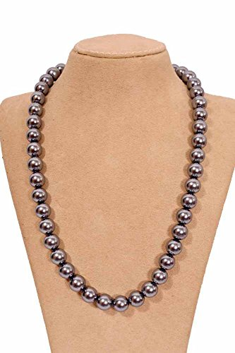 Beautiful Daily Wear Color Dark Grey Shell Pearl Necklace Size 12 MM for ()