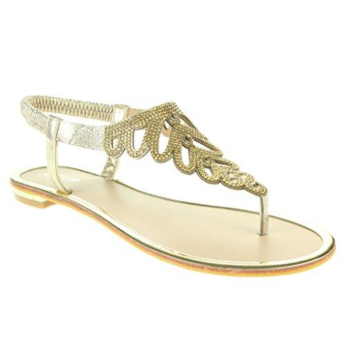 Mujer Señoras Diamante Toe Post Slingback Verano playa Casual Fiesta Punta abierta Comodidad Plano Sandalias Zapatos Tamaño Oro