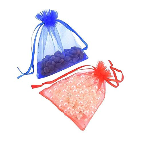 50Pieces Wholesale of Drawstring Gift Bag.Transparent Organza Bag Party Wedding Mesh Bag,Christmas Day Conducive to Transparent Hard Yarn Storage Earrings Necklaces and Small Items - 9x12cm,5x7Inches