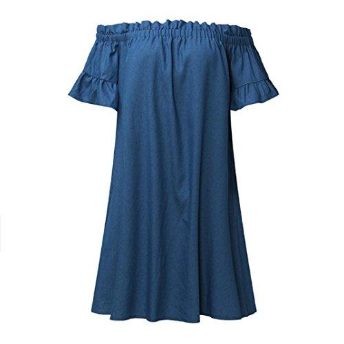 Vestito Elegante Donna Vestito Vestiti da Grandi Casual Donna dalle In Abito ASHOP Estate Camicie Denim Vestiti Donna Dimensioni Blu Elegante di Lungo dwRz7AxqdX
